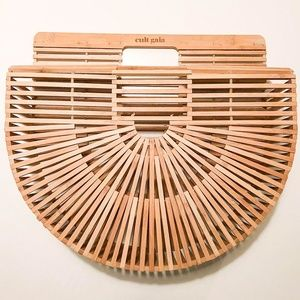 Cult Gaia Large Natural Wood Clutch New in Box